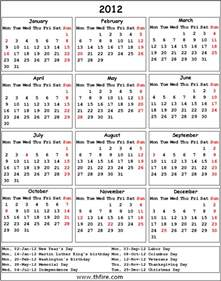 2012 Calendar with Holidays