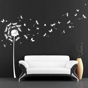 Wandtattoo Pusteblume Weiß : pusteblume mit vielen schmetterlingen und pollen wandtattoo ~ Frokenaadalensverden.com Haus und Dekorationen
