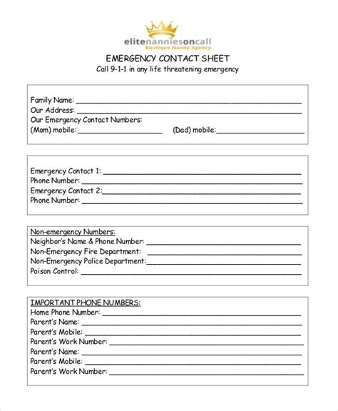 emergency contact template free contact list template 10 free word pdf documents free premium templates