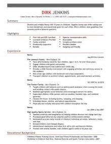 high senior college resume objective best nanny resume exle livecareer