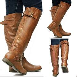 womens brown boots nz womens fl42 zipper studded knee high boots sz 5 5 to 10 ebay