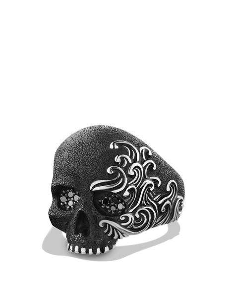Lyst - David Yurman Waves Large Skull Ring With Black