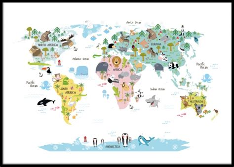 Kids Poster With World Map With Animals Nice Posters And