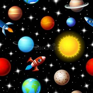 Seamless Kids Design Of Rockets And Planets Stock Vector