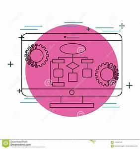 Computer Monitor Diagram Gears Technology Stock Vector