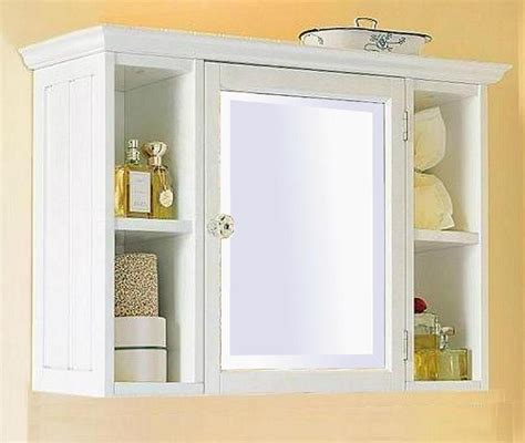 small white bathroom wall cabinet with shelf home