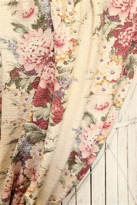 vintage drapery fabric vintage 1930s peony cabbage roses floral nubby barkcloth