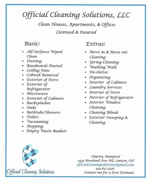 home cleaning services price list    images