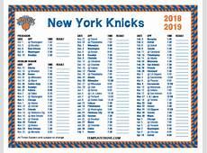Printable 20182019 New York Knicks Schedule