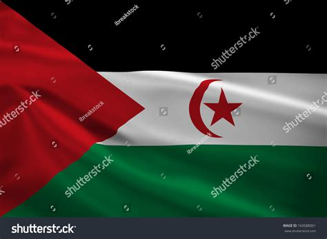 Sahrawi Arab Democratic Republic Flag Blowing Stock