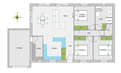 plan maison 4 chambres plain pied plan de maison 2 chambres plan de maison simple