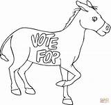 Donkey Coloring Pages Election Elephant Donkeys Democratic Caravan Drawing Printable sketch template