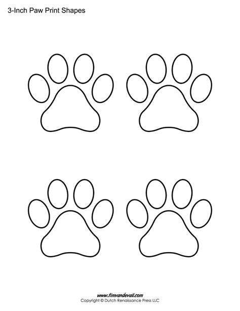 print templates paw print template shapes blank printable shapes