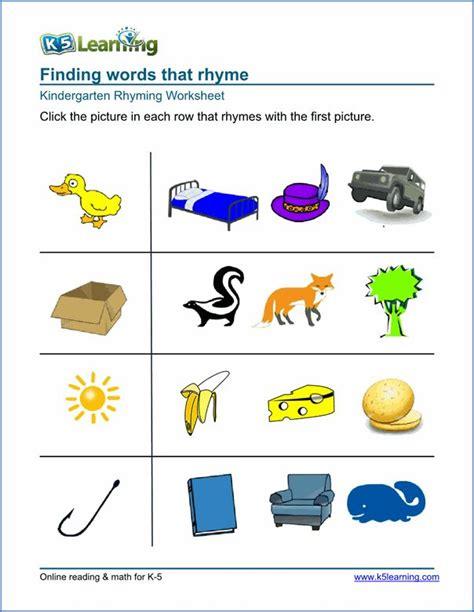 kindergarten rhyming worksheet  images rhyming