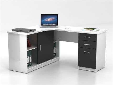 deco design cuisine bureau d 39 angle norwy 2 portes 2 tiroirs blanc gris
