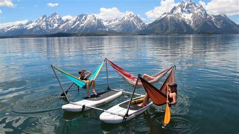 Water Hammock Blue Intl hammocraft 174 a 5 person hammock frame for land or water