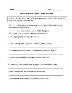 commas images worksheets  grade english
