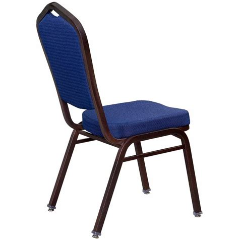 premium metal stack chair with blue 2024 fabric