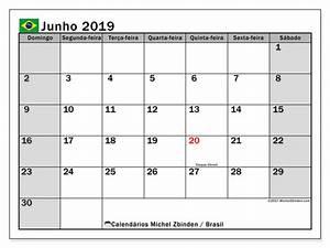 Calendário de junho de 2019, Brasil Michel Zbinden pt