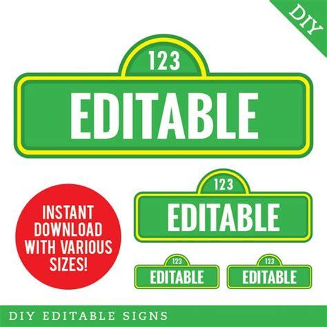 instant  sesame street signs editable printable file