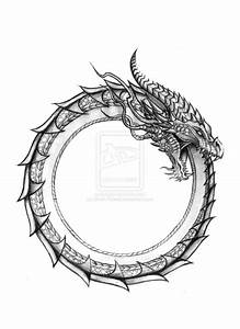 Black And Grey Ouroboros Tattoo Design By Devin Rowell