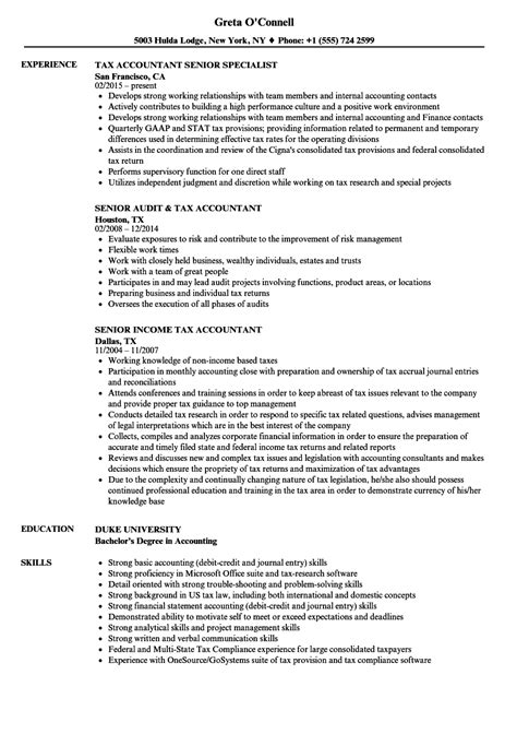 Tax Accountant Resume by 10 Tax Preparer Resume Sles Resume Sles