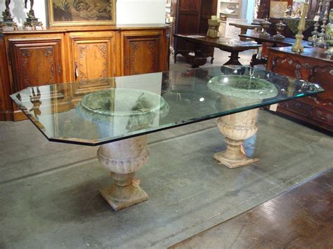 liquid glass for table top beveled glass table top on antique french stone urns le