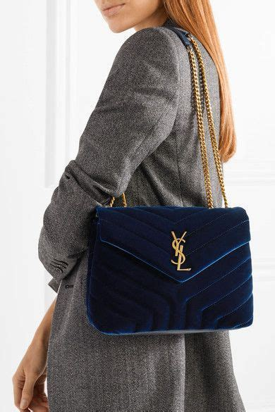 saint laurent loulou small quilted velvet shoulder bag shoulder bag bags blue bags