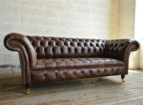 chesterfield sofa brown leather montana brown leather 3 seater