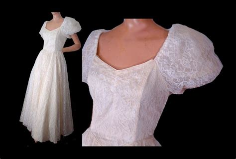 80s Prom Dress White Lace Formal Gown Wedding Dress Puffy
