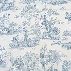 Toile De Jouy : tissu toile de jouy bleu en 280 cm de largeur par 10 cm ~ Teatrodelosmanantiales.com Idées de Décoration