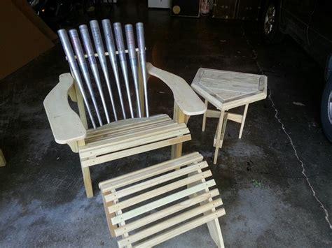 baseball bat adirondack chair  footstool  homeplate