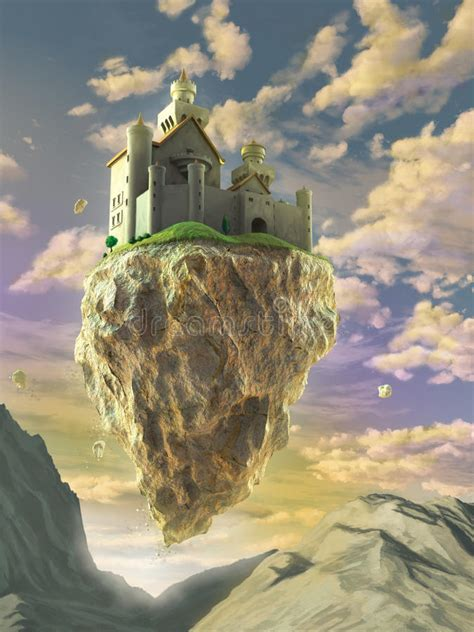 floating castle stock illustration illustration  fortress