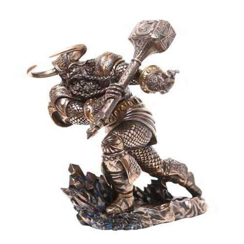 thor norse god attacking with hammer statue vikings