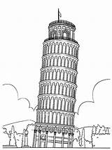 Pisa Tower Colouring Coloring Coloringpage Italy Colour Check sketch template