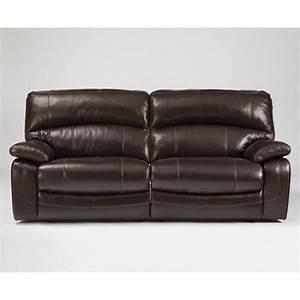 Ashley furniture damacio leather reclining sofa in dark for Eurodesign brown leather 5 piece sectional sofa set