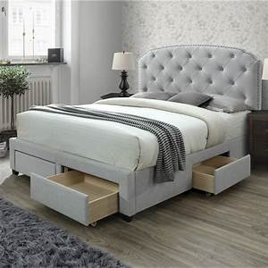 Dg, Casa, Argo, Tufted, Upholstered, Panel, Bed, Frame, With, Storage, Drawers, And, Nailhead, Trim, Headboard