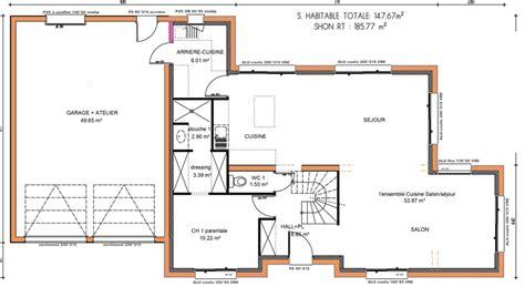 plan maison etage 4 chambres 1 bureau plan maison 5 chambres avec etage