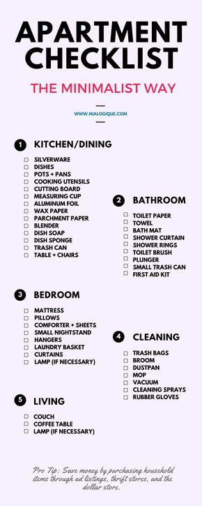 minimalist apartment checklist check   awesome