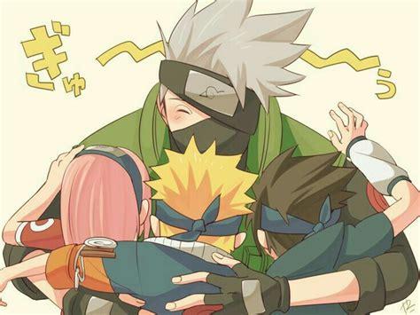 team  naruto sakura sasuke kakashi cute hug text
