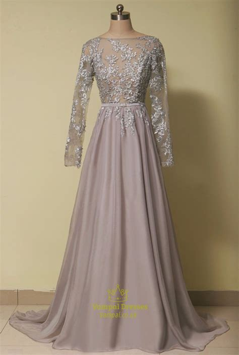 grey illusion lace bodice backless chiffon dress  long