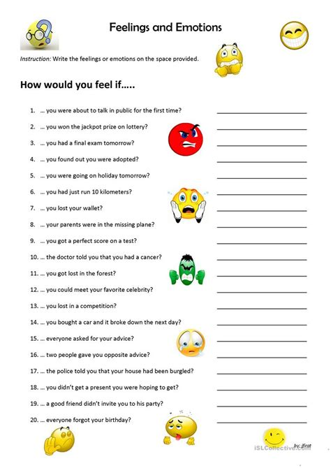 feelings  emotions worksheet  esl printable