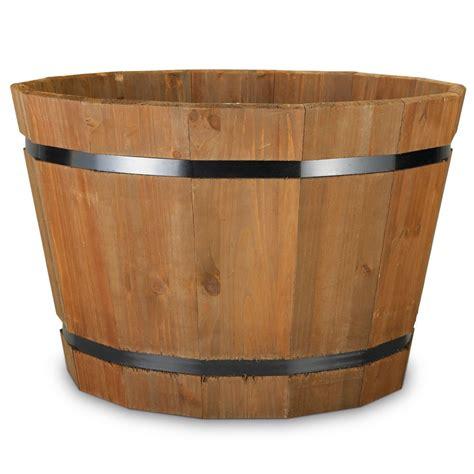 home depot barrel planter matthews four seasons wooden barrel planter 23 inch