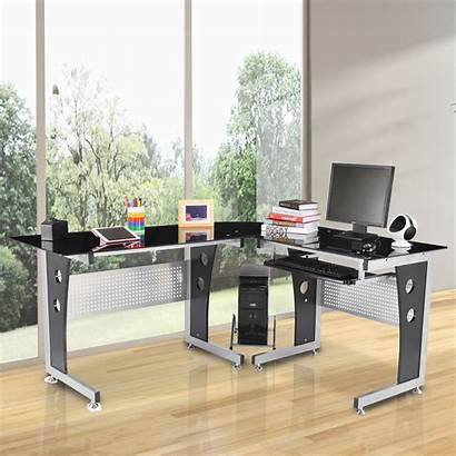 Desk Computer Modern Shaped Glass Homcom Office