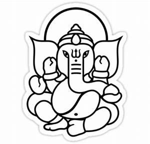 "Ganesh Ganesa Ganapati 3 (black outline)"" Stickers by ..."
