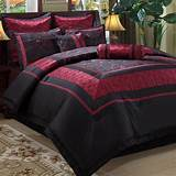 Red black asian comforter