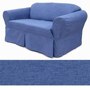 Washed denim sofa slipcover ebay for Denim furniture slipcovers