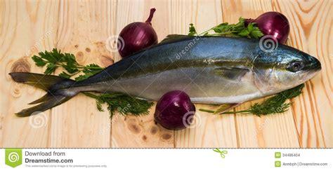fish yellowtail   red onions stock