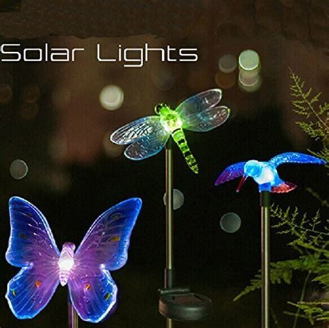 butterfly color changing led solar stake lights for