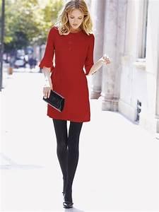 Sleek red dress. Black tights. Black heels. | My Style ...